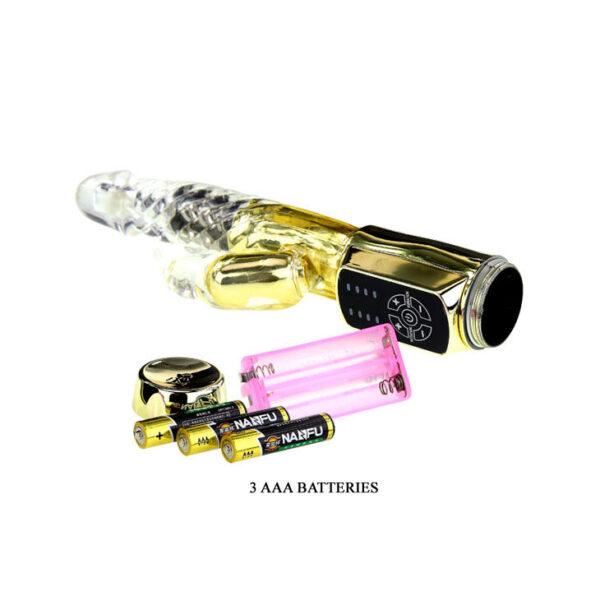 Ly Baile rabbitvibraator Gold Rabbit Prince töötab kolme AAA patareiga. Patareid ei ole vibraatoriga kaasas.