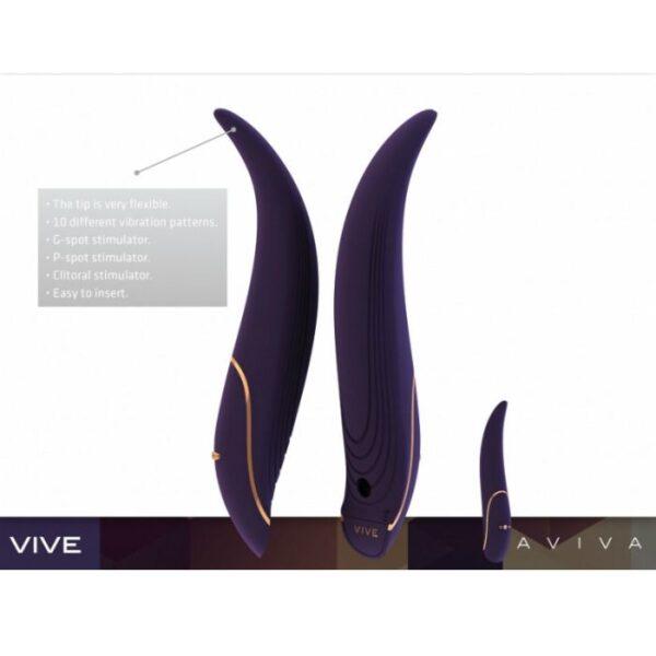 VIVE Aviva Black luksusvibraatoril on 10 erinevat vibratsioonirežiimi. Nii kliitori - kui ka G-punkti stimulaator, et saada naudinguid ka vaginaalselt ja anaalselt. Taaslaetav ja veekindel.
