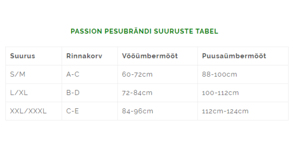 Passion pesubrändi suuruste tabel