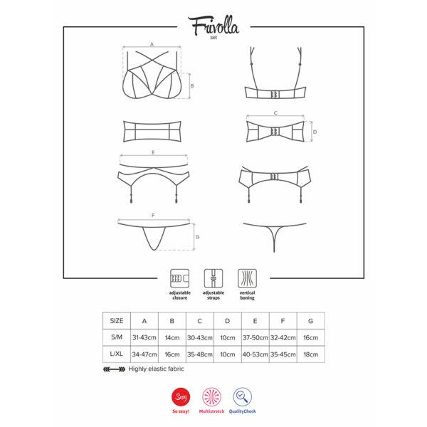 4-osalise Frivolla pesukomplekti mõõtudetabel.