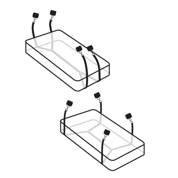 Komplekti saab kasutada kahte moodi - voodirihmad tõmmata madratsi otsest või külje pealt. Rihmad on reguleeritavad.