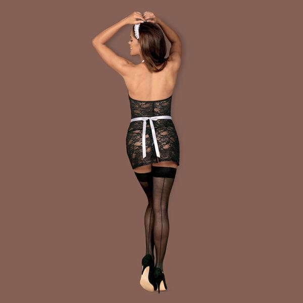 Seksikas ja ulakas teenindajakostüüm sisaldab seksikat läbipaistvat lillemustriga pitsist kleiti, peapaela, satiinist põlle ja mustasid stringe.