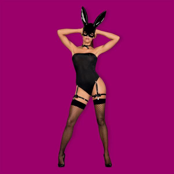 5-osaline jänkukostüüm sisaldab endas maski koos kõrvadega, body't, kaelapaela, sukahoidjaid ja seksikaid võrksukkasid.