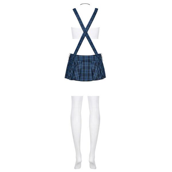 5-osaline ulaka õpilasekostüüm. Kostüüm sisaldab lipsu, topi, traksidega seelikut, stringe ja põlvikuid.