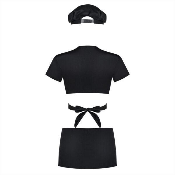 4-osaline kuum naispolitseiniku komplekt sisaldab mütsi, reguleeritavate paeltega topi, seksikat miniseelikut ja stringe.