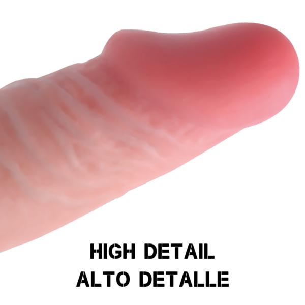 Dildo kogupikkuseks 22cm, millest sisestatava osa pikkus on 20cm ja läbimõõduks 4.6cm.