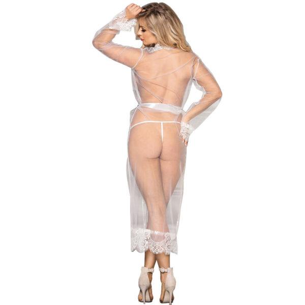 Sensuaalne pikkade varrukatega valge hommikumantel Subblime