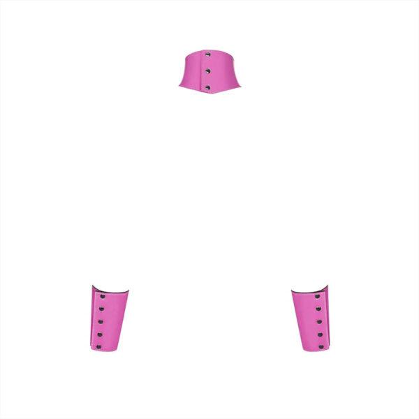 Roosad lateks-imitatsiooniga kaela - ja käerihmad Obsessive Lollypopy