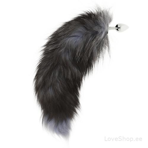 Ohmama hõbedane anaaltapp pika koheva musta sabaga (45cm)
